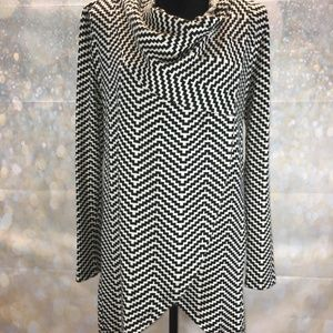 Limited Asymmetrical Black and White Cardigan